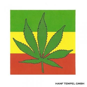 Aufkleber - Hanfblatt auf Jamaika-Flagge